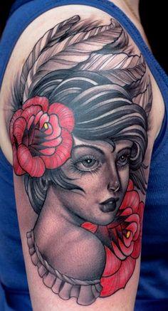 Girl with Roses Tattoo - Chris Lennox http://tattoosflower.com/girl-with-roses-tattoo-chris-lennox/
