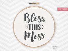 BLESS+THIS+MESS+counted+cross+stitch+pattern+easy+by+PineconeMcGee