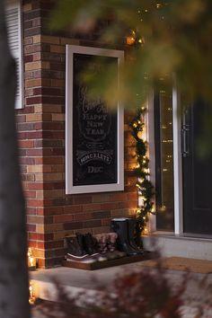 Love the chalkboard on a porch idea - from - 4 Men 1 Lady: Front porch sneak peek...