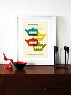 Cathrineholm poster print Mid Century Modern home kitchen art coffee tea - Vintage home  Cathrineholm 2 A3 on Etsy, $29.00