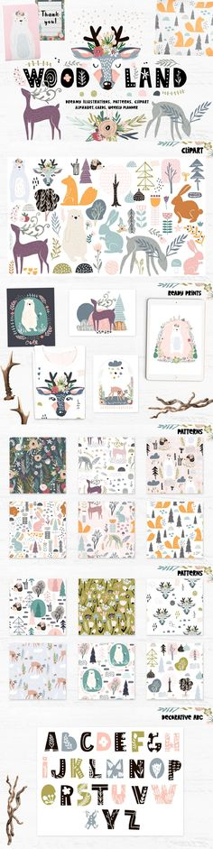 DREAMY COLLECTION OF ANIMALS, FOREST ELEMENTS, CREATIVE TRENDY PATTERNS Adorable woodland creator include fancy animals ( deers, bunny, bears, hedgehog, squirrel ), patterns, decorative alphabet, premade cards, prints, weekly planner template.  #animals #scandinavian #scandinaviandesign #pattern #kidsroom #patterndesign #illustration  #printable #textiledesign