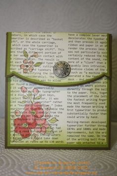 Flap-Card. Stamp over some old book pages glued to cardstock. Or print directly onto the cardstock, then stamp.