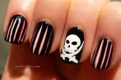 Polish Rainbow nail art: Pirate flag nails.
