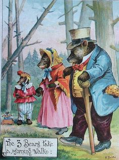 quenalbertini: The Three Bears McLoughlin Bros 1888 - Victorian Illustr. Victorian Illustration, Children's Book Illustration, Vintage Books, Vintage Art, Antique Teddy Bears, Goldilocks And The Three Bears, Classic Fairy Tales, Bear Art, Old Postcards