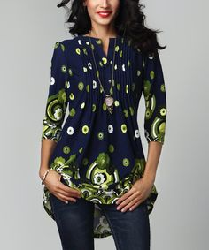 This Navy Garden Notch Neck Pin-Tuck Tunic by Reborn Collection is perfect! #zulilyfinds