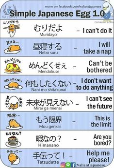 Japanese is a language spoken by more than 120 million people worldwide in countries including Japan, Brazil, Guam, Taiwan, and on the American island of Hawaii. Japanese is a language comprised of characters completely different from Japanese Egg, Study Japanese, Japanese Kanji, Japanese Culture, Learning Japanese, Learning Italian, Japanese Quotes, Japanese Phrases, Hiragana