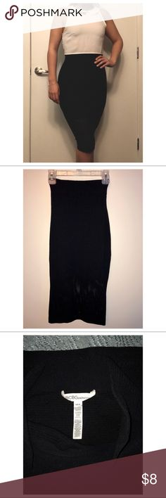 BCGB tight-stretch skirt High waisted, black stretch material with mesh below the knee - Size: xs  - brand: BGBG  - no signs of wear BCBGeneration Skirts Midi