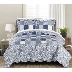 New in open package Blissful Living Luxury Ruffle Quilt Set Including Sham - Lightweight and Soft for All Seasons - Joyanna Indigo - Twin Ruffle Quilt, Ruffle Bedding, King Quilt Sets, Queen Quilt, Luxury Bedspreads, Linen Bedroom, King Pillows, Twin Quilt, Comforter Sets