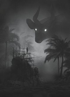 Dawid Planeta's mysterious illustrations take you on a trip into a dark world of deep forests and mythical creatures. Dawid Planeta is a freelance graphic Arte Horror, Horror Art, Fantasy Kunst, Fantasy Art, Dark Paintings, Animal Paintings, The Beast, Arte Obscura, Surrealism Painting