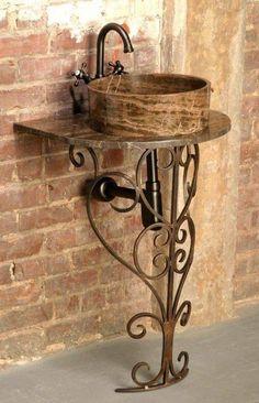 Traliewerk - Lilly is Love Rustic Light Fixtures, Rustic Lighting, Iron Furniture, Rustic Furniture, Bathroom Furniture, Bathroom Interior, Lavabo Vintage, Toilette Design, Outdoor Sinks