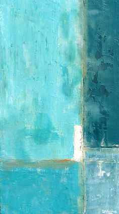 Weathered 10x18 inches - textured turquoise mixed media abstract painting.