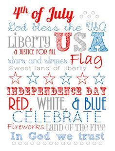 4th of July subway art.  FREE PRINTABLE!!!  Six Sisters... a Million Different Thoughts