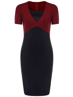 $11.85 OL Style Knee-Length Color Block Short Sleeve Dress For Women