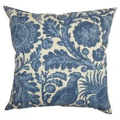 Stout Pattern: Schrader 1 Indigo on chambray throw pillow with a feather down insert at Joss and Main.