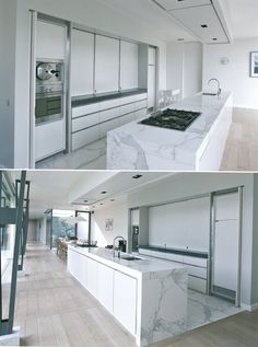 Contemporary Interiors - Open passage through kitchen. Connection to exterior