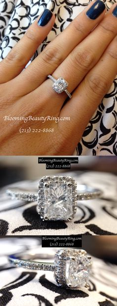 Gorgeous 1 carat Radiant Cut Diamond set in a delicate Halo Setting  http://www.BloomingBeautyRing.com  (213) 222-8868  #Halo #Radiant #Diamond