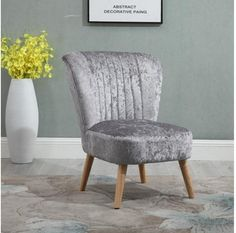 Grey Crush Velvet Accent Chair With Wooden Legs For Living Room Modern Decor New Living Room Modern, Living Room Bedroom, Living Room Chairs, Velvet Accent Chair, Accent Chairs, Single Chair, Fabric Armchairs, Scandinavian Furniture, Chair Design