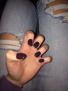Dark purple burgundy almond shaped acrylic nails