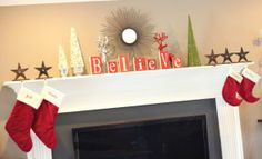So cute! Holiday Mantel Decor Stockings. (Curated for BlogHer Loves Favorite Holiday Traditions sponsored by Betty Crocker) –cs
