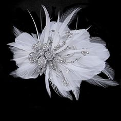 Seraphina Embellished Feather Headpiece – SASSB – Silver
