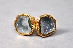 Geode Stud Earrings - Geode Jewelry - Drruzy Earrings - Geode Earrings. $75.00, via Etsy.
