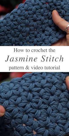 How To Make The Jasmine Stitch Crochet - Leela B. - How To Make The Jasmine Stitch Crochet Jasmine Stitch Crochet Free Pattern Video Tutorial - Crochet Stitches Free, Stitch Crochet, Crochet Baby, Free Crochet, Different Crochet Stitches, Crochet Beanie, Crochet Man Scarf, Knitting Stitches, Knitting And Crocheting