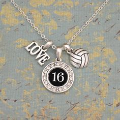 Custom Number 3 Charm Volleyball Necklace
