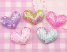 5 x Colourful Bubble Heart Flat Back Kawaii Cabochons