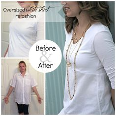 oversized white (men's) shirt refashion tutorial_before&after