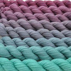 Spring Maroon to Beach Glass Color Bridge Yarn Set by colorshiftyarn