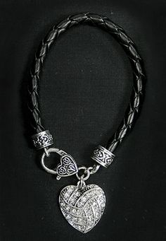 """Crystal Heart Leather Bracelet • Charm adorned with clear crystals • Assembled in the USA • Lead and Nickel Free • Size: 7"""" leather bra 