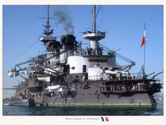 Colorized photo of the French battleship Charlemagne, launched in 1895