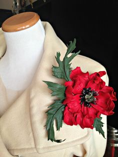 Red Poppy Flower Leather Brooch / Accessory