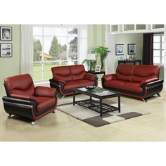 Alica Modern Black/ Red Faux Leather Chair   Overstock.com Shopping - The Best Deals on Living Room Chairs