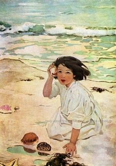 """Water Baby"" Girl with Seashell at the Beach Fabric Block - Repro Jessie Wilcox Smith Art And Illustration, American Illustration, Book Illustrations, Beach Fabric, Am Meer, Beach Art, Vintage Art, Vintage Travel, Vintage Posters"