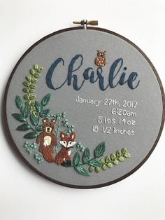 This woodland animal themed baby announcement is perfect for the newest arrival in your life. The hand embroidered hoop design includes custom text and a custom color scheme. ---CUSTOMIZE--- This design includes personalized text and colors. When checking out please include: