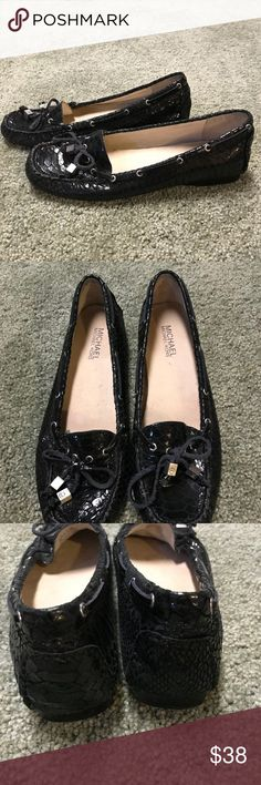 Michael Kors black snake skin print loafers size 8 Gorgeous leather loafer/ moccasins gently worn in great condition Michael Kors Shoes Flats & Loafers