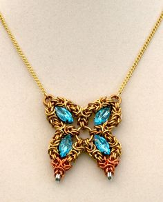 Butterfly  Brass Chain Maille Neclace by EclecticArtbyCynthia, $35.00