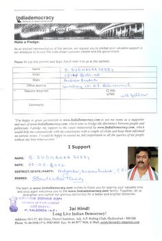 S.Sudhakar Reddy has pledged to use www.Indiademocracy.com to connect with people