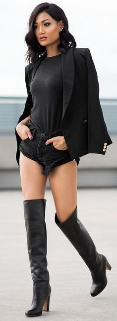 All Everything Black Blazer, Tee, Shorts and Overknees | Micah Gianneli