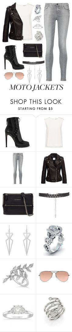 """""""Moto Jackets"""" by queenfangoddess ❤ liked on Polyvore featuring Alaïa, Finders Keepers, 7 For All Mankind, Anine Bing, Givenchy, Allurez, Ray-Ban and Michael Kors"""