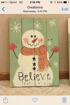"""Pallet snowman """"Believe"""" by lola"""