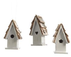 Assorted Bird House with Cut Out Heart White 6 x 10cm - Christmas