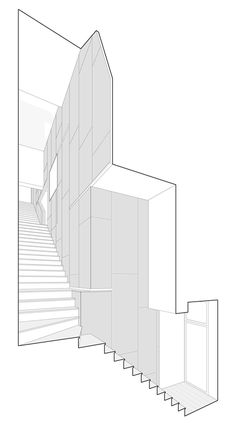 London studio PATALAB Architecture made the most of the space inside this awkward-shaped residence in the north of the city by running a staircase along the entire rear wall and adding a door that folds around a corner Architecture Graphics, Architecture Drawings, Architecture Portfolio, Concept Architecture, Architecture Details, Sections Architecture, House Architecture, Planer Layout, Architectural Section