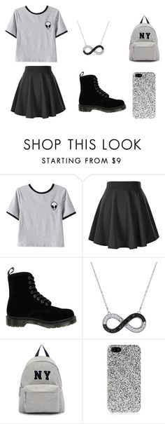 """""""black and white polyvore"""" by karolinajane on Polyvore featuring Chicnova Fashion, Dr. Martens, Joshua's, Yves Saint Laurent and Alien"""