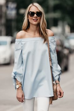 Fashion Jackson, Dallas Blogger, Fashion Blogger, Street Style, Tibi Off-the-shoulder Top, White Ripped Skinny Jeans, Gucci Soho Disco Handbag, Christian Louboutin Pigalle Nude Pumps