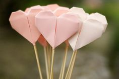 origami hearts on a stick