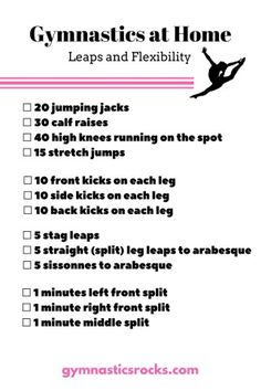 Hey everyone! Today I am sharing some at-home gymnastic work-outs in checklist form so you can easily track what you've done. Going through a list once will be great, but doing it two or thre…
