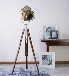Vintage Antique Finish Tripod Floor Lamp.