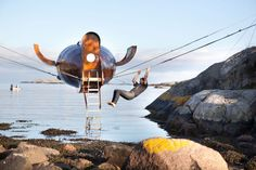 Flying View in Norway. Suspended tiny house.